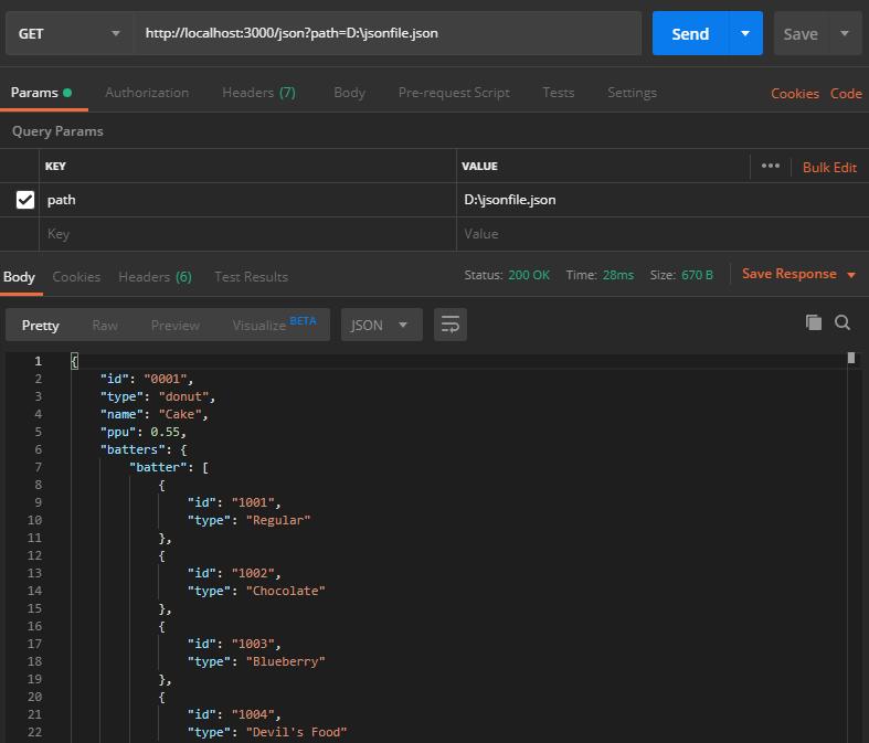 JSON reader API - Testing response