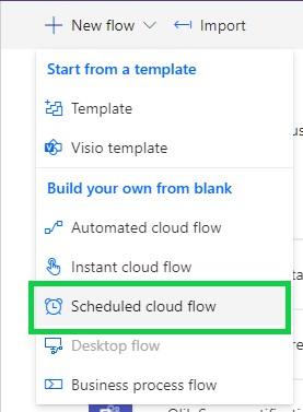 Power automate new flow menu
